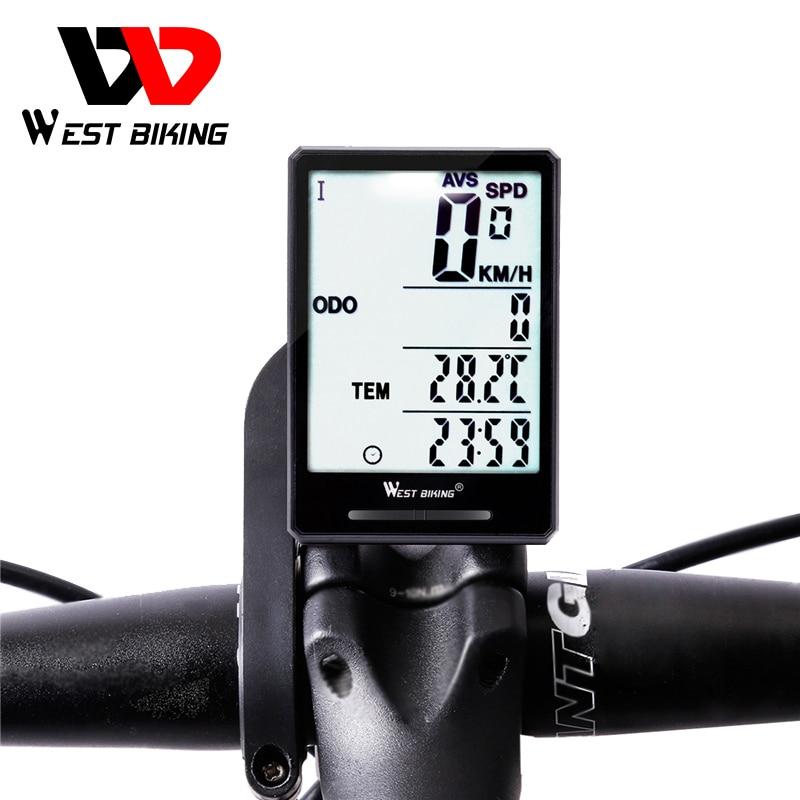 West Biking Wireless Bike Computer Speedometer Odometer Rainproof Bike Measurable Temperature Stopwatch Cycling Bicycle Computer title=