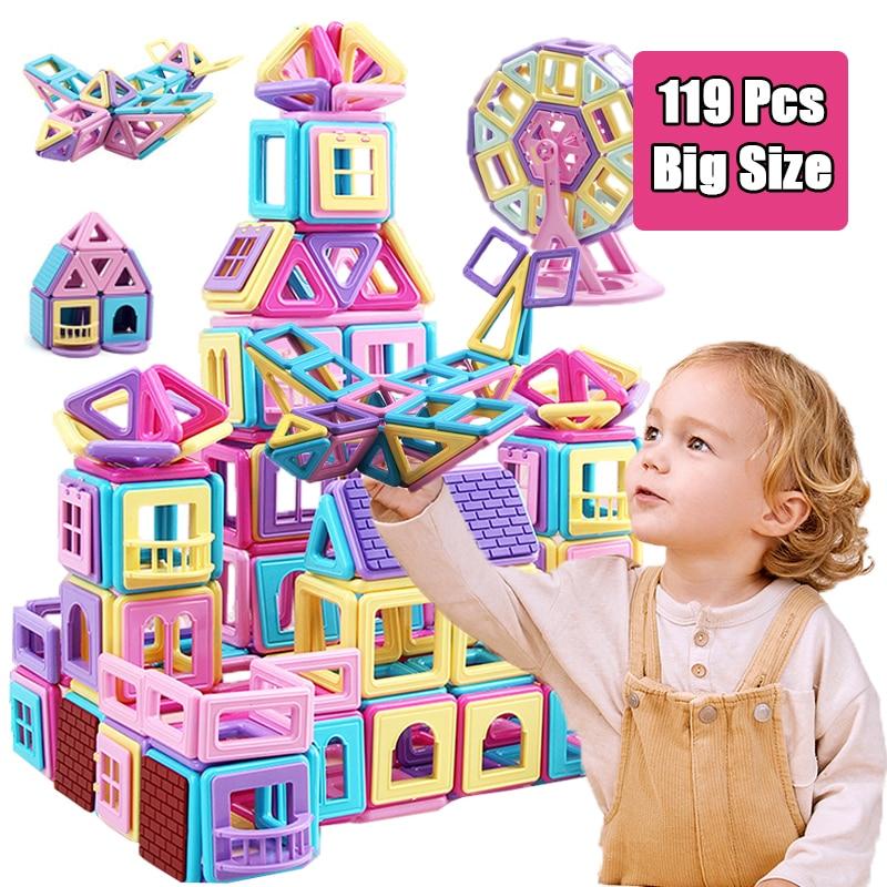Büyük boy manyetik bloklar DIY yapı tek tuğla tasarımcı aksesuar yapı mıknatıs modeli eğitici oyuncaklar çocuklar çocuklar için