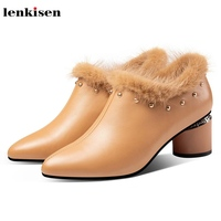 Lenkisen genuin leather plus velvet high heels pointed toe fashion rivets solid sweet keep warm autumn winter women shoes L13