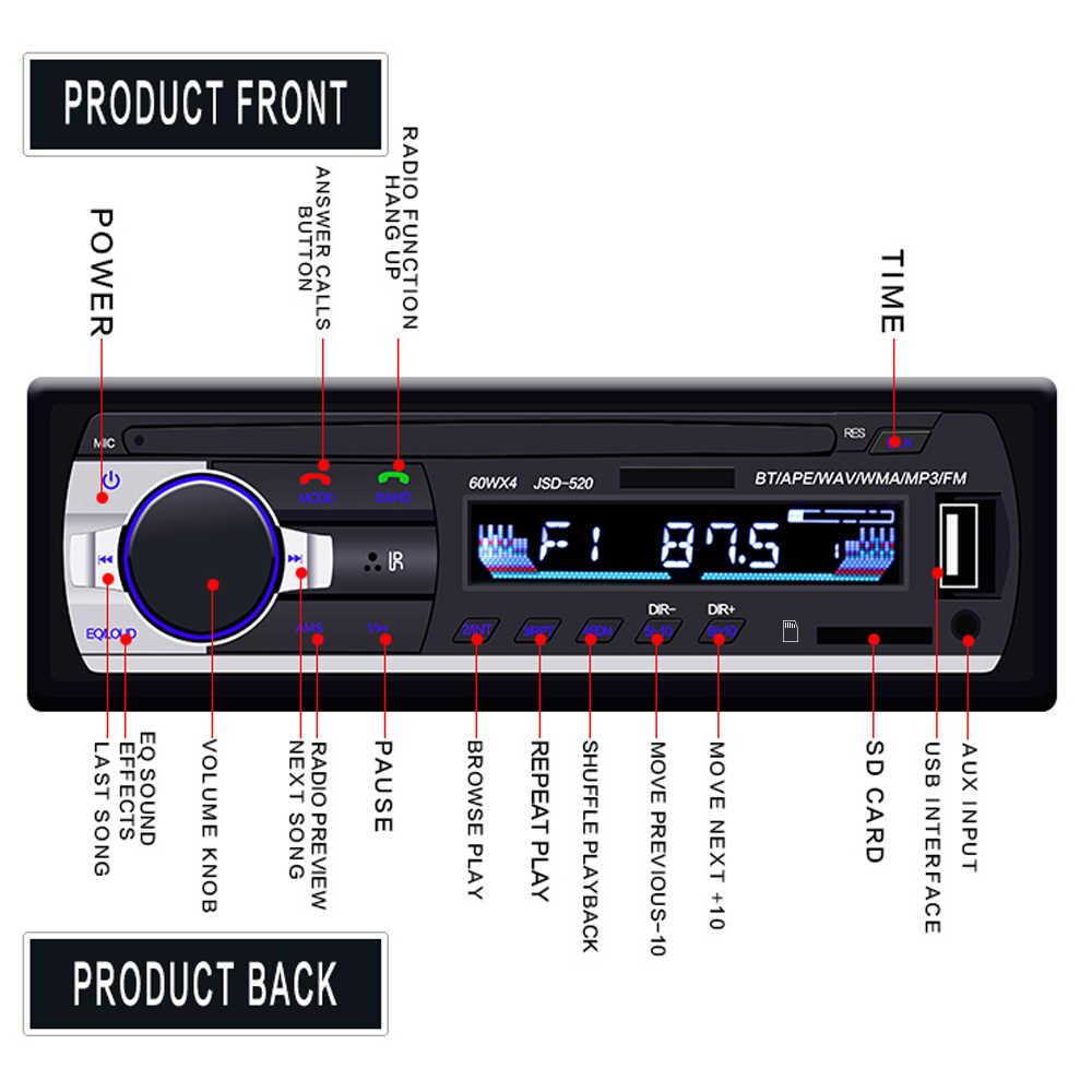 Hikity車ラジオautoradio 1 喧騒のbluetooth sd MP3 プレーヤーJSD-520 fm aux入力レシーバsd usb