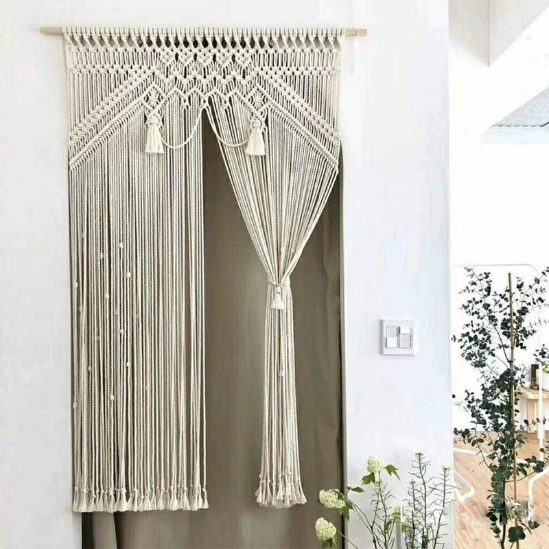 Handmade Woven Cotton Rope Curtain Wedding Home Decor Macrame Tapestry Living Room Background Wall Hanging Ornament Door Curtain