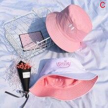 Bucket-Hat Fisherman-Hat Embroidery Double-Sided-Wear Panama Straberry Women Summer Hip-Hop-Hat
