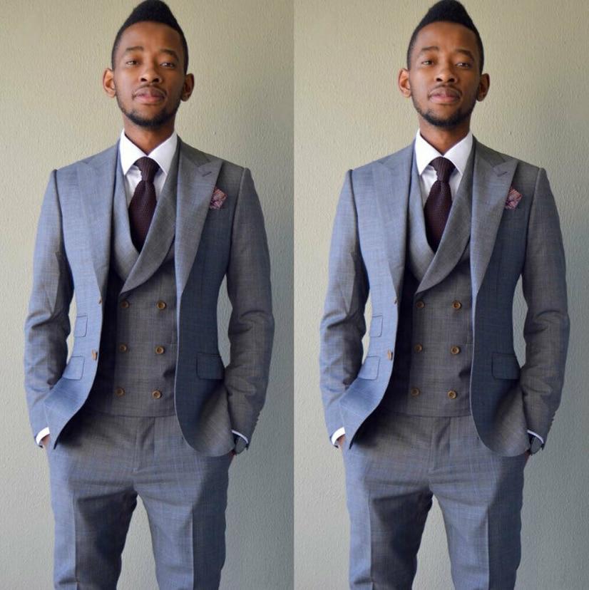Black WINTAGE Mens Poly Blend Notch Lapel Tuxedo 2Pc Suit