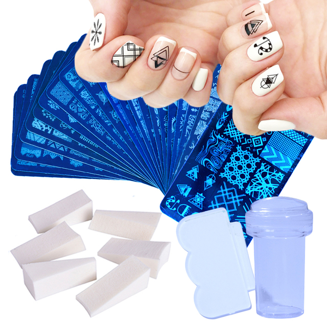 1 Set Nail Art Stamping Plates Geometry Lace Animals With Sponge Stamper Scraper Stencils For Nail Polish Template LA804