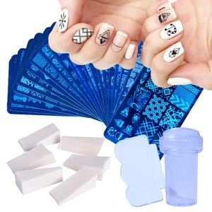 Image 1 - 1 комплект пластины для штамповки ногтей в виде геометрических фигур кружева Животные с губка Стампер скребок Трафареты для лак для ногтей шаблон LA804
