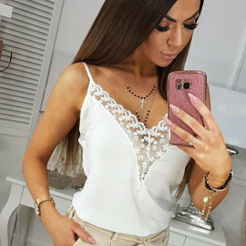 Women Summer Sleeveless Casual Tanks Top Off Shoulder Pullover Top Shirt Vest Sexy Lace V-neck Strappy Camis Female Underwear strappy fitted top