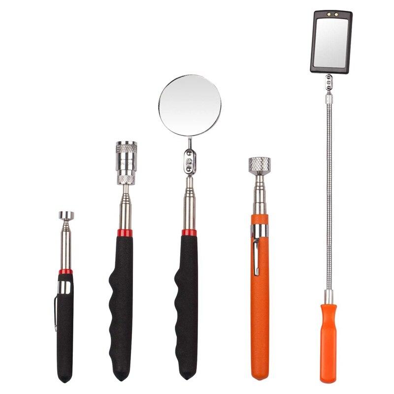 Outil de ramassage magnétique télescopique de 5 pièces, y compris une tige de ramassage de 10 Lb/8 Lb/5 Lb et un ensemble de miroirs d'inspection ronds/carrés, Telesc