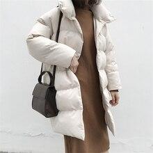Winter Jacket Women 2019 Fashion Bubble Coat Streetwear Black Long Parka Coat Pa