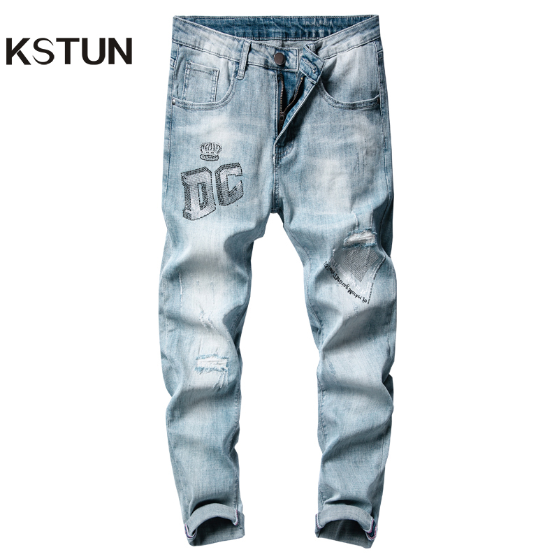 Skinny Jeans Men Ripped Distressed Jeans for Man Light Blue Stretch High Quality Moto Jeans Offset Printing Letters Denim Pants