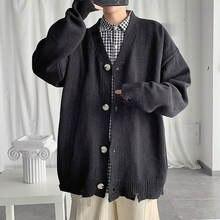 Корейский Кардиган мужской теплый Модный повседневный трикотажный
