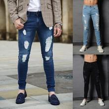 Mens 3 Colors Unique Design Ripped Hole Jeans for Men Slim Fit Denim Pants Male Long Skinny Fashion Trousers Homme skinny jeans