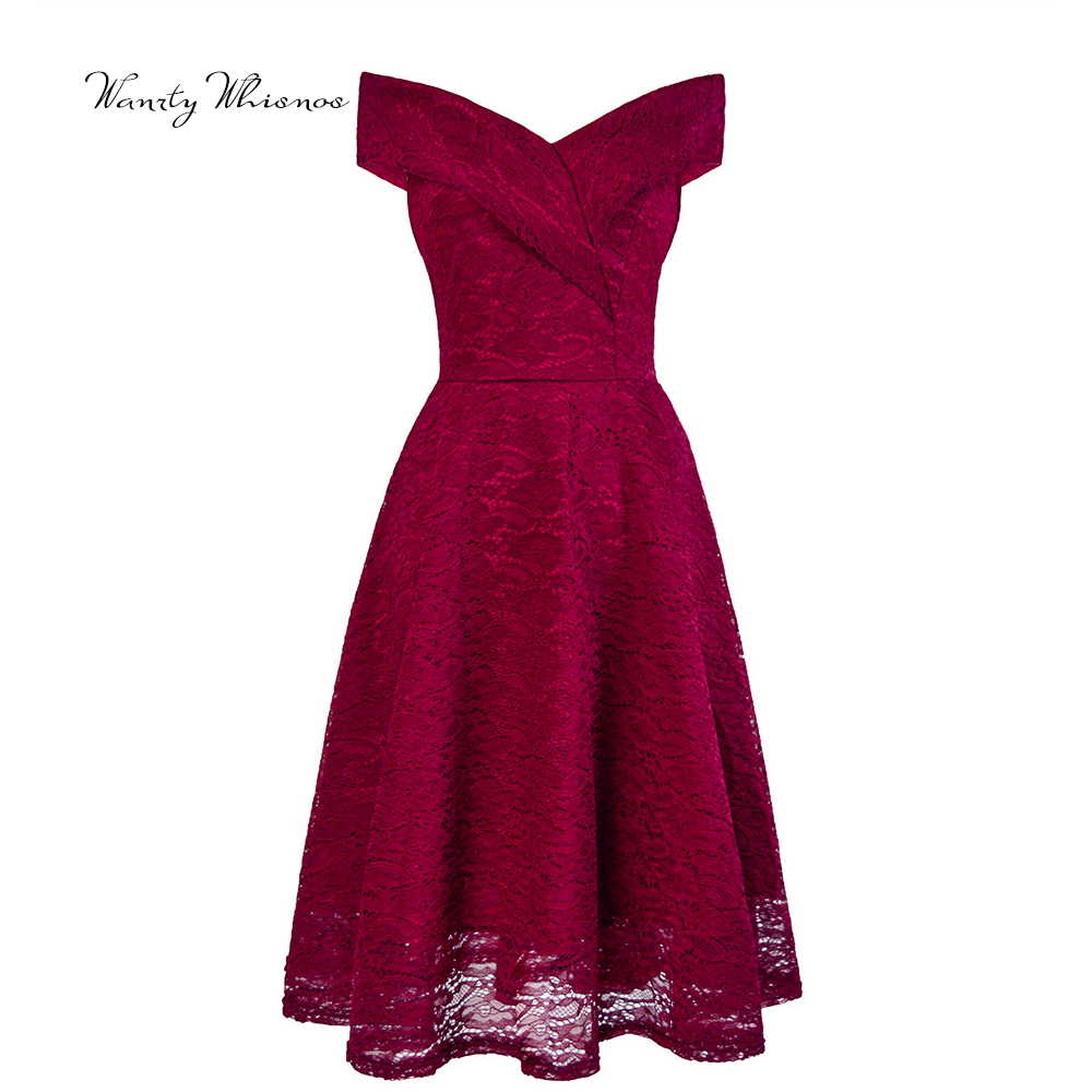 In Stock 2020 Sexy Burgundy Cocktail Dresses Lace Short Formal Party Gown Knee Length A line V Neck Sleeveless robe coctail