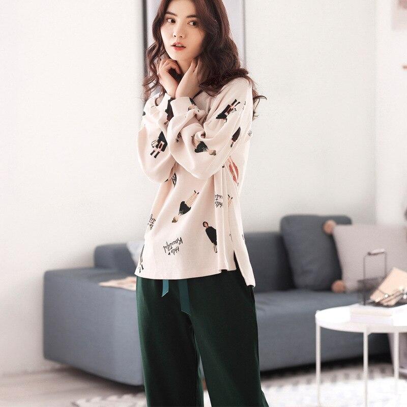 Autumn and Winter Pyjamas Women 100% Pure Cotton Long Sleeves Ladies Pajama Sets Sleepwear Female Sexy Pajamas Women Homewear 16