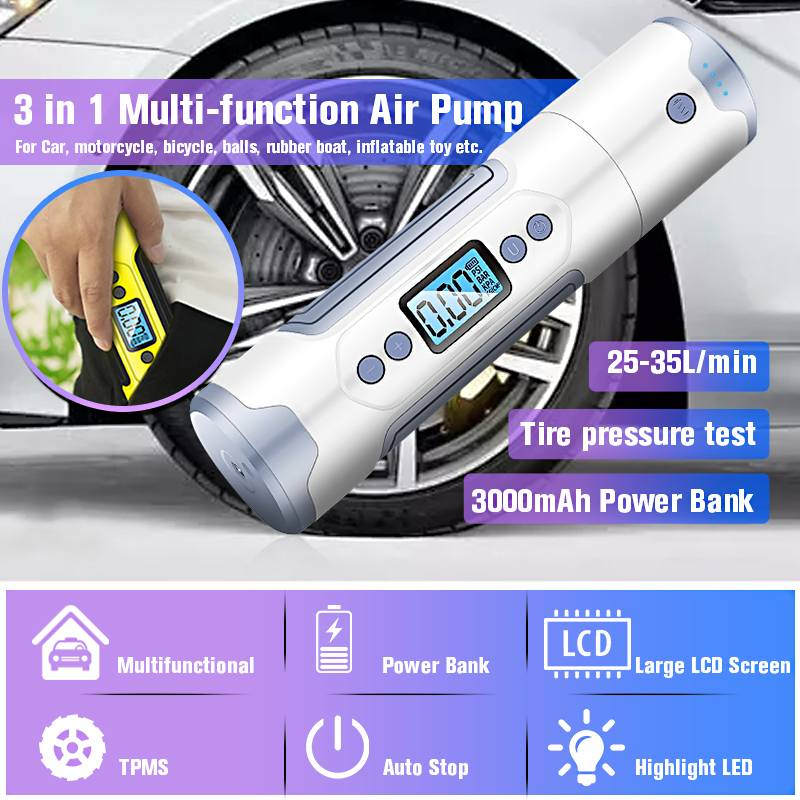 Wireless 3000mAh 35L/min Portable Air Compressor 12V 150 PSI Tire Inflator USB Charging Bike Bicycle Cycling Motorcycle With LED