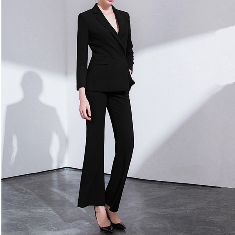 16.1 2,,99,Women`s suit women`s waist slim suit 2 piece set (jacket + pants) women`s double-breasted casual professional wear custom made