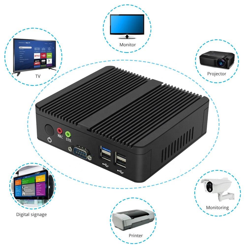 Fanless Mini PC Intel Core I5 4210Y/4200Y Mini Computer Celeron 2955U/3855U Pentium 4405U Windows 10/8/7 Linux Ubuntu VGA HDMI