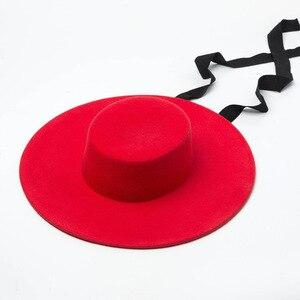 Image 3 - באיכות גבוהה סתיו חורף פדורה כובע אישה כובע אופנה גדול נשים צמר כובע שטוח למעלה גבירותיי רחב שוליים כובע לחורף