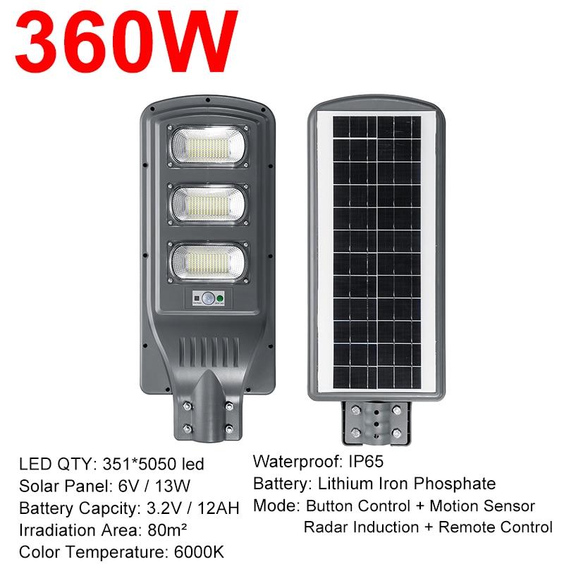 IP66 120W/240W/360W LED Outdoor Lighting Wall Lamp Solar Street Light Solar Powered Radar Motion Light Control For Garden Yard