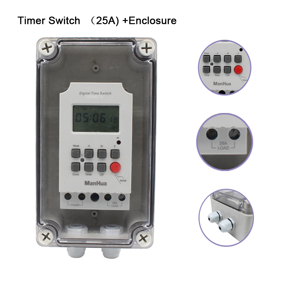 Livre com Interruptor de Temporizador Digital à Prova de Água Mt316se segundo Programável à Prova de Chuva ao ar Manhua 220 v 25a Ip66