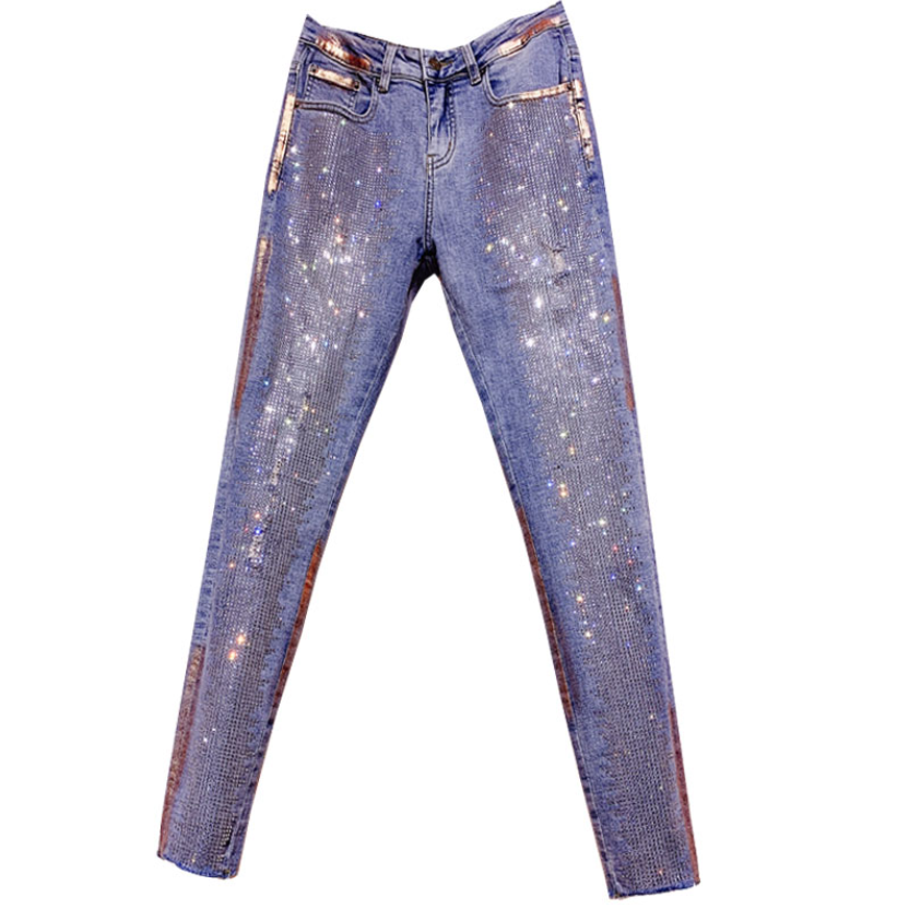 2020 Spring Autumn Fashion Color Diamond Feet Jeans Women High Waist Skinny Pencil Jeans Plus Size