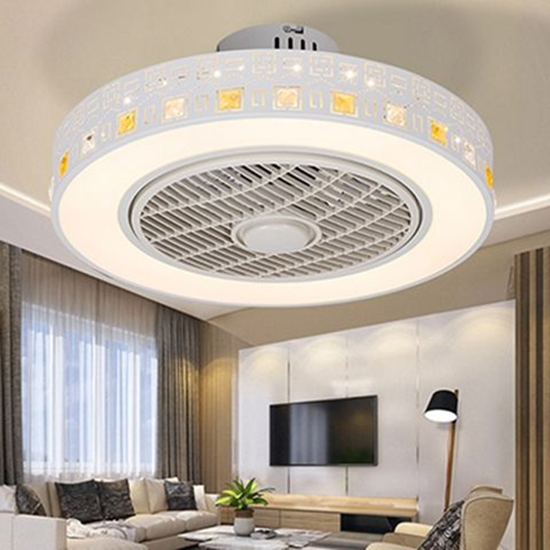 Modern minimalist white painted iron ceiling fan light crystal decorative acrylic LED lighting dimmable bedroom fan lamp - 3