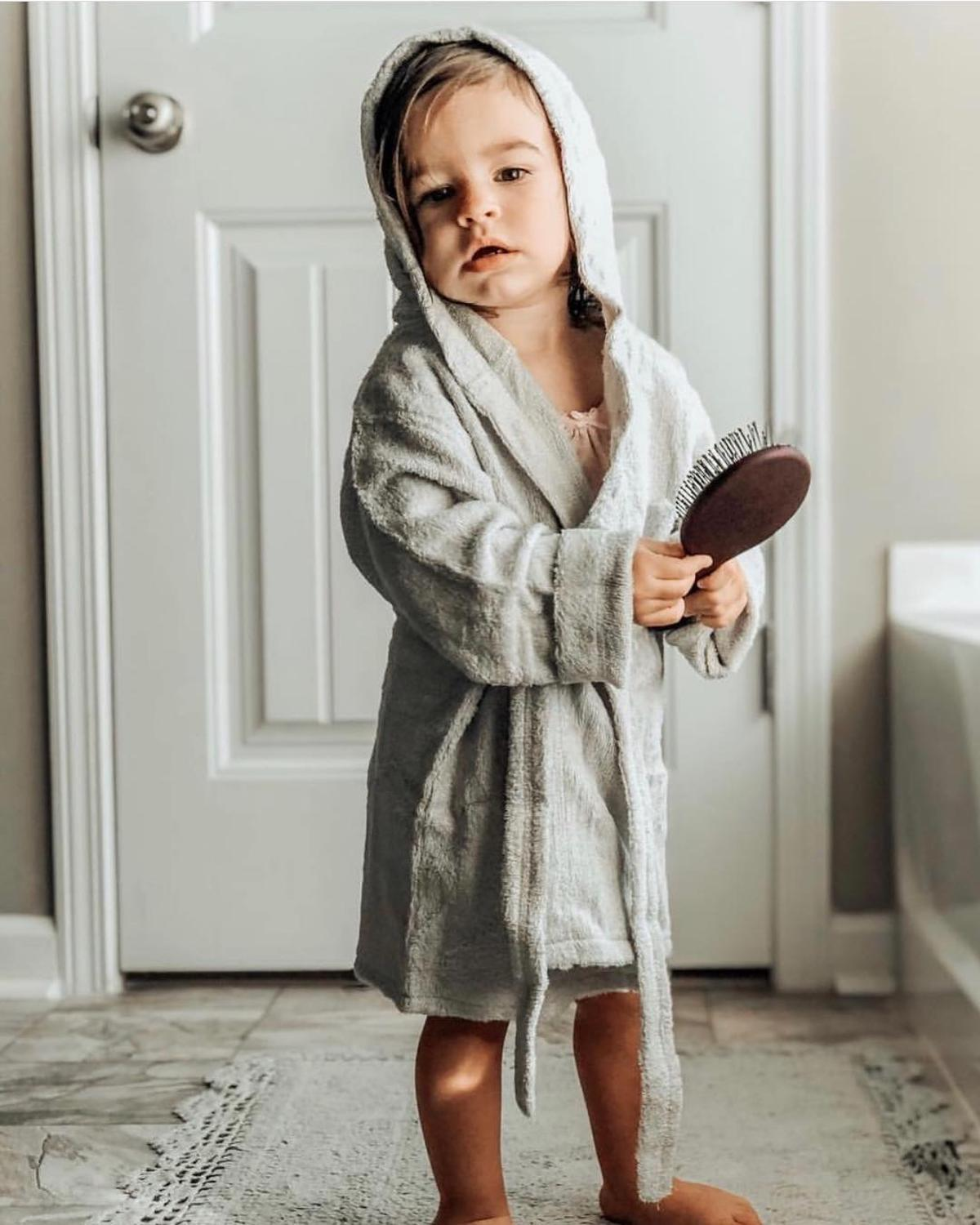 LOOZYKIT Children Sleepwear Hooded Bath Robes Night-robe Pajamas Toddler Baby Boys Girl Long Staple Cotton Bathrobe Kids Clothes