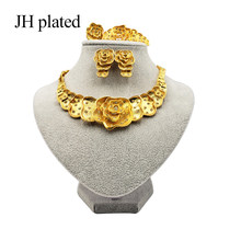 JHplated 2019 New Dubai Fashion jewelry sets African women Gold color Bracelet Necklace earrings ring wedding gifts Ornament(China)