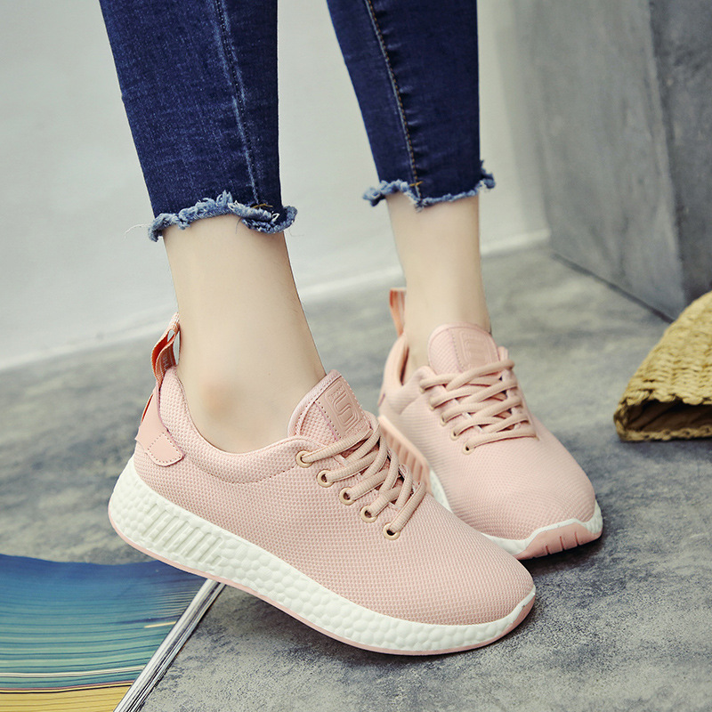 New Ladies White Shoes Spring Autumn Fashion Mid-Heel Flat Platform Mesh Breathable Sports Casual Lace Up Shoes Women Sneakers