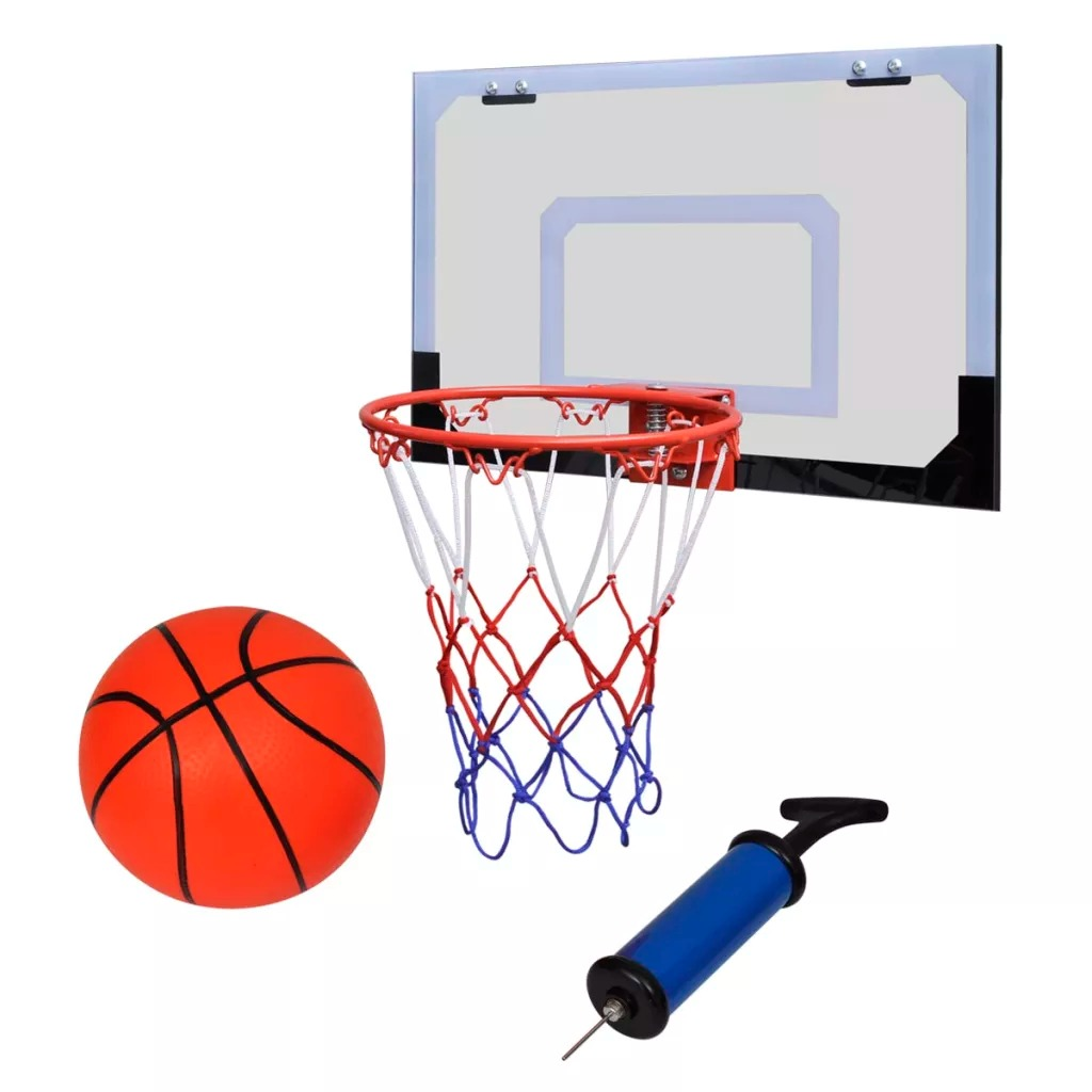 Indoor Mini Basketball Hoop Set With Ball And Pump 45 X 30 Cm Backboard Size Extremely Stable Basketball Hoop Sets PVC Material