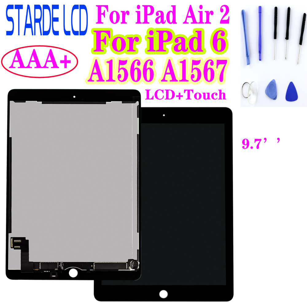 STARDE Replacement LCD For Ipad Air 2 A1566 A1567 / Ipad 6 LCD Display Touch Screen Digitizer Assembly Black / White 9.7