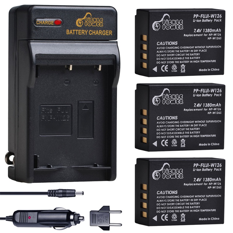 NP-W126 NP-W126S Camera Battery and Charger Set for Fujifilm FinePix HS30EXR, <font><b>HS35EXR</b></font>, HS50EXR, X-A5, X-H1, X-A10, X-A1, X-E1 image