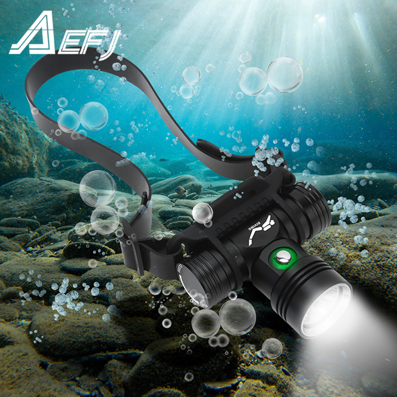 Diving Headlamp 100 Meters Underwater Headlight XM-L2 Led Scuba head Flashlight Torch Waterproof IPX8 18650 Lamp Light
