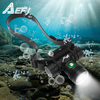 цена на Diving Headlamp 100 Meters Underwater Headlight XM-L2 Led Scuba head Flashlight Torch Waterproof IPX8 18650 Lamp Light