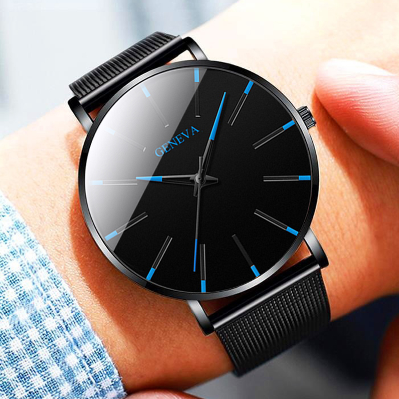 Relojes Masculino Fashion Mens Black Watches Luxury Stainless Steel Strap Analog Quartz Wristwatch Men Business Casual Clock