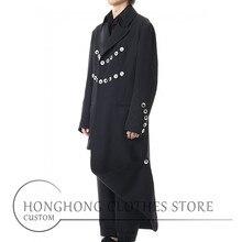 [custom size] new men's long trench coat original design asy