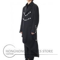[custom size] new men's long trench coat original design asymmetrical coat large size loose trench coat M 6XL!