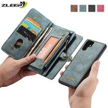 Capa carteira retrô de couro removível p30pro, para huawei p20 p30 mate20 pro lite, luxoosa com suporte para cartão magnético coque