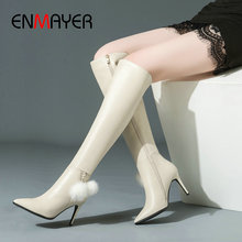 цена на ENMAYER 2019 Fashion PU  Over The Knee Boots  Pointed Toe  Women Shoes Sexy Thin High Heels  Women Winter Boots  Size 34-39