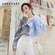 Cheerart Fall Tops V Neck Ruffle Blouse Womens Tops And Blouses Patchwork Striped Loose Asymmetrical Top 2019 Autumn asymmetrical plain v neck blouse