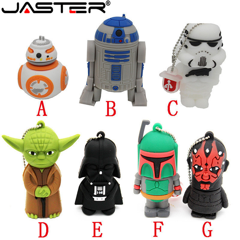 JASTER Usb Flash Drive Pen Drive Pendrive 32GB 64GB New Style Pendrive Hot Sale Fashion New Star War Usb2.0 Memory Stick Drive