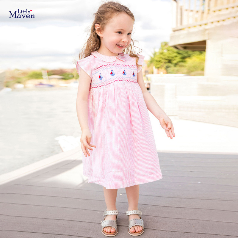 Little Maven 2021 New Summer Baby Girls Clothes Brand Dress Toddler Cotton Striped Boat Print Dresses for Kids 2-7 Years S0958 2