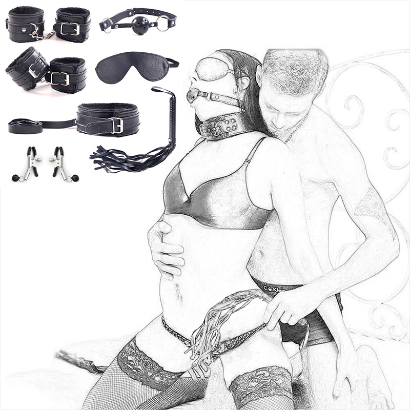 7Pcs/Set BDSM Bondage Adult Sex Toys For Woman Couples Games Handcuffs Whip Nipple Clamps Mouth Gag Fetish Slave Sex Products