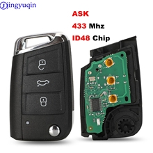 jingyuqin 3B ASK 433MHZ ID48 Car Key for VW / VOLKSWAGEN Golf 7 MK7 Touran Polo Tiguan without Keyless-go