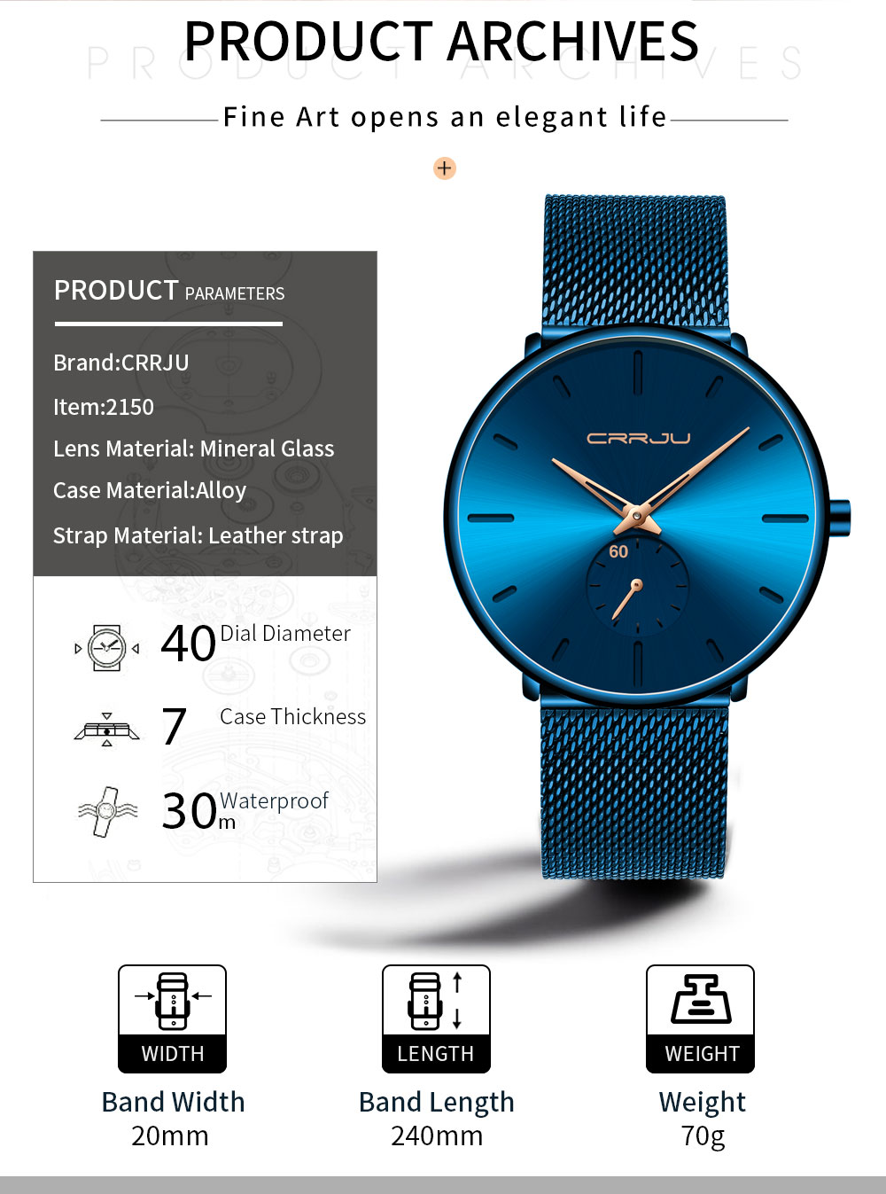 Dropship CRRJU 2019 New Simple Design Waterproof Stainless Steel Mesh Men Watches Top Brand luxury Quartz relogio masculino