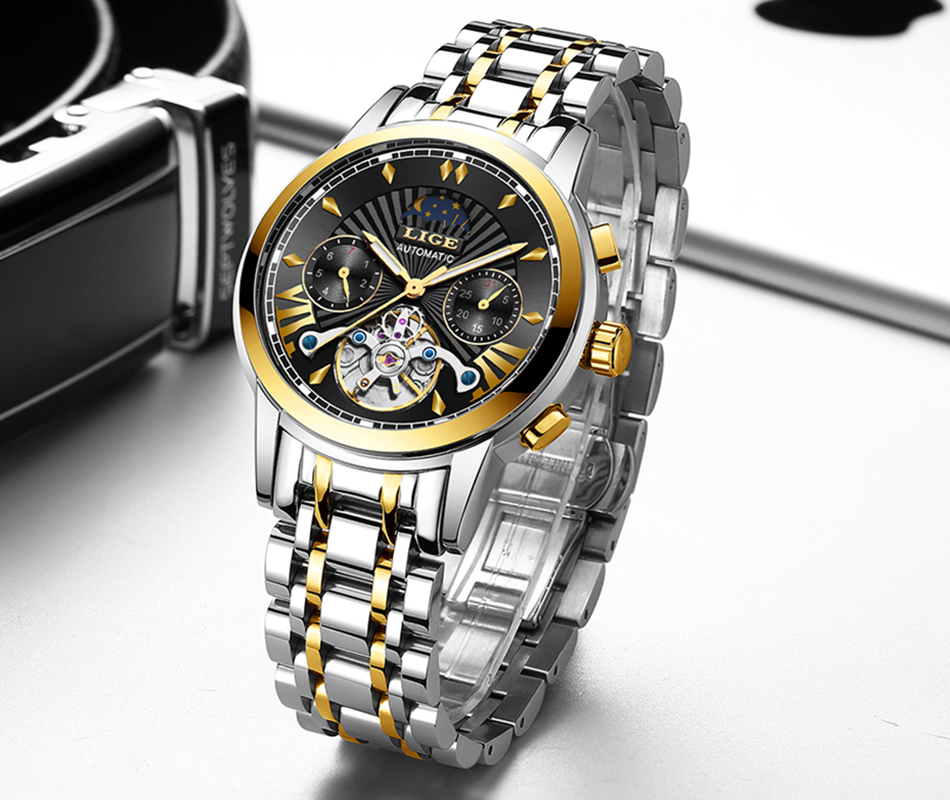 LIGE Official Store Mens Watches Top Brand Luxury Automatic Mechanical Business Clock Gold Watch Men Reloj Mecanico de Hombres H2557f6c7a932499a821d8d51c73f40c8G
