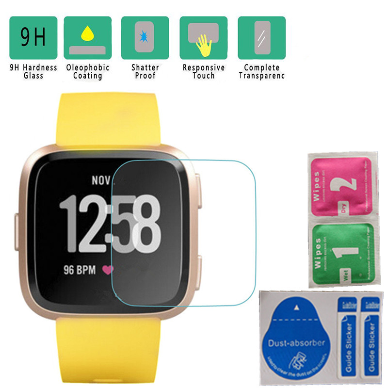 2/5 PC Protective Glass On The For Fitbit Versa Lite Tempered Glass Smart Watch Screen Protector Bubble Free Protection Film 9H