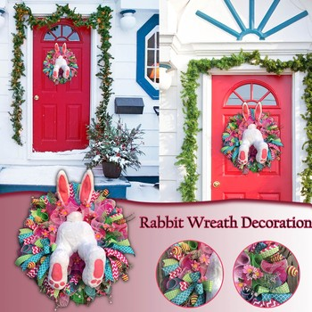 Easter Thief Bunny Butt with Ears Cartoon Bunny Shape Cute Decoration Ornaments,Easter Decoration White Bunny Butt and Ears Plush Wreath,Easter Rabbit Shape Garland Door Wall Decor F