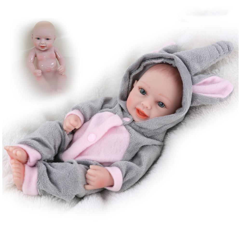 "Lifelike Real Full Silicone Vinyl Body Cute Lovely 10/"" Mini Reborn Baby Doll Boy"