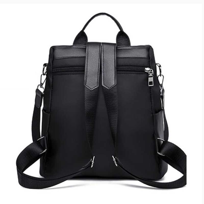 -Gunakan Nylon Ransel Warna Solid Besar Semua Kebutuhan Bisnis untuk Wanita Bagpack dengan Kucing Liontin Wanita Sederhana Perjalanan Tas Bahu pack