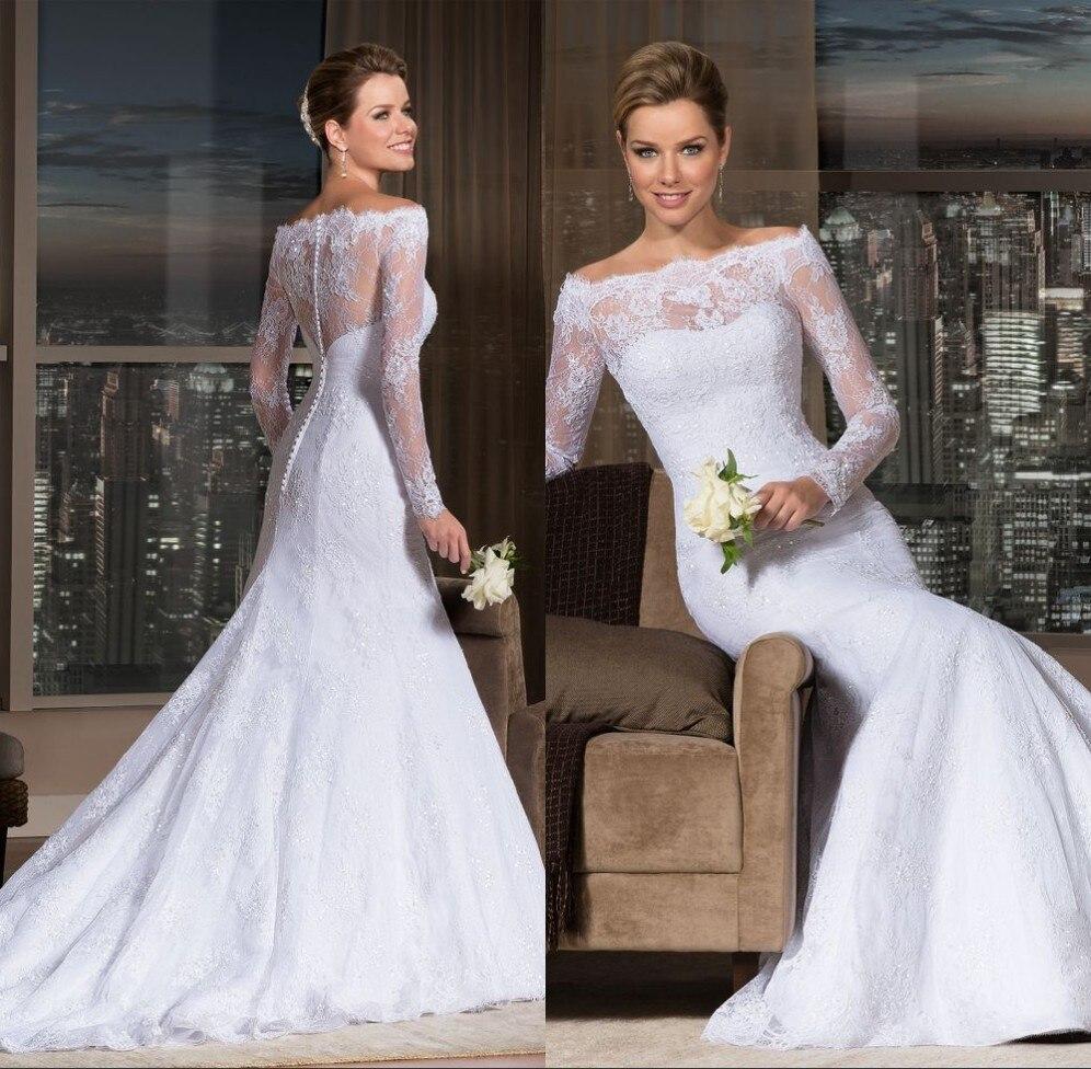 Custom 2019 New Elegant Long Sleeve Lace Bridal Gown Vestidos De Noivas Renda Mermaid Free Shipping Mother Of The Bride Dresses
